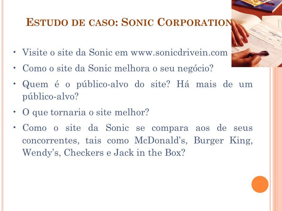 E STUDO DE CASO : S ONIC C ORPORATION Visite o site da Sonic em www.sonicdrivein.com Como o site da Sonic melhora o seu negócio? Quem é o público-alvo