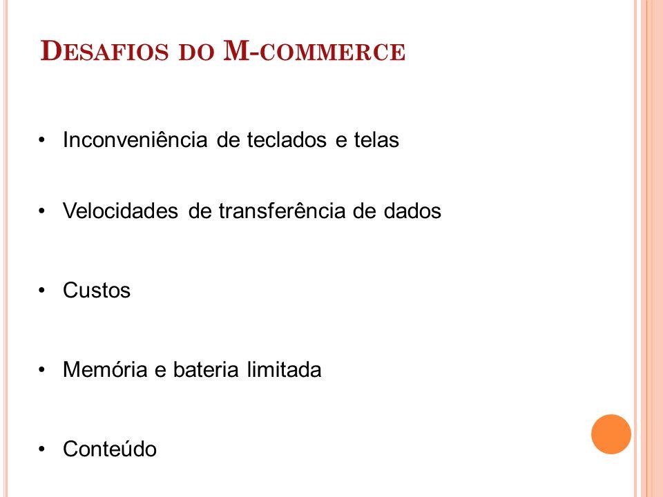 D ESAFIOS DO M- COMMERCE Inconveniência de teclados e telas Velocidades de transferência de dados Custos Memória e bateria limitada Conteúdo