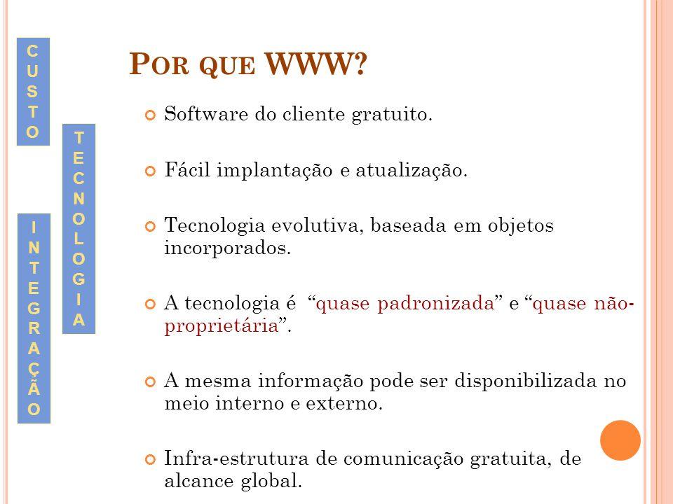 P OR QUE WWW? Software do cliente gratuito. Fácil implantação e atualização. Tecnologia evolutiva, baseada em objetos incorporados. A tecnologia é qua