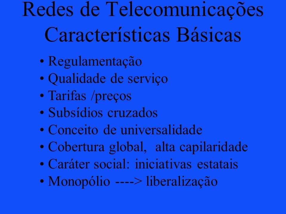 Redes de Telecomunicações Características Básicas Regulamentação Qualidade de serviço Tarifas /preços Subsídios cruzados Conceito de universalidade Co