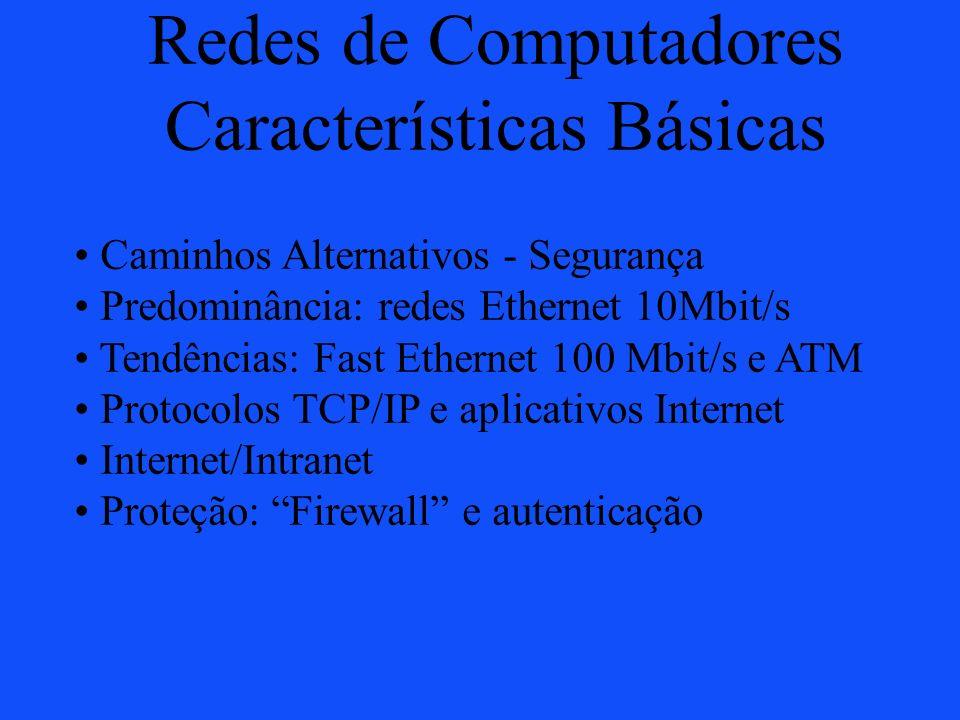 Redes de Computadores Características Básicas Caminhos Alternativos - Segurança Predominância: redes Ethernet 10Mbit/s Tendências: Fast Ethernet 100 M