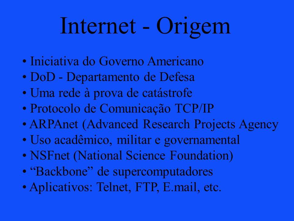 Internet - Origem Iniciativa do Governo Americano DoD - Departamento de Defesa Uma rede à prova de catástrofe Protocolo de Comunicação TCP/IP ARPAnet