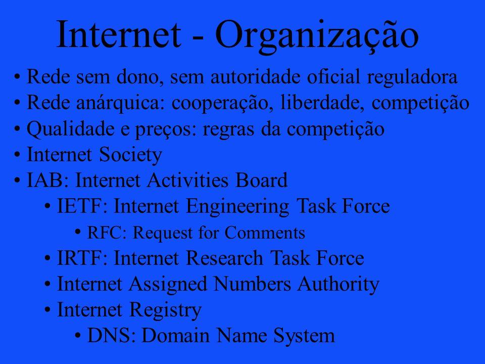 Internet - Organização Rede sem dono, sem autoridade oficial reguladora Rede anárquica: cooperação, liberdade, competição Qualidade e preços: regras d