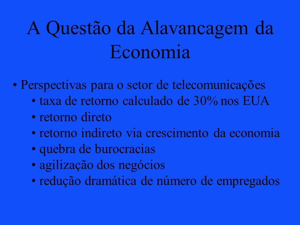 A Questão da Alavancagem da Economia Perspectivas para o setor de telecomunicações taxa de retorno calculado de 30% nos EUA retorno direto retorno ind
