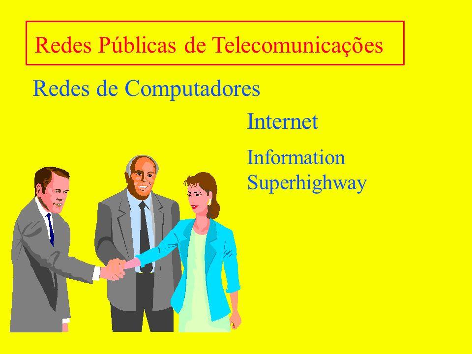 Redes de Computadores Características Básicas Caminhos Alternativos - Segurança Predominância: redes Ethernet 10Mbit/s Tendências: Fast Ethernet 100 Mbit/s e ATM Protocolos TCP/IP e aplicativos Internet Internet/Intranet Proteção: Firewall e autenticação