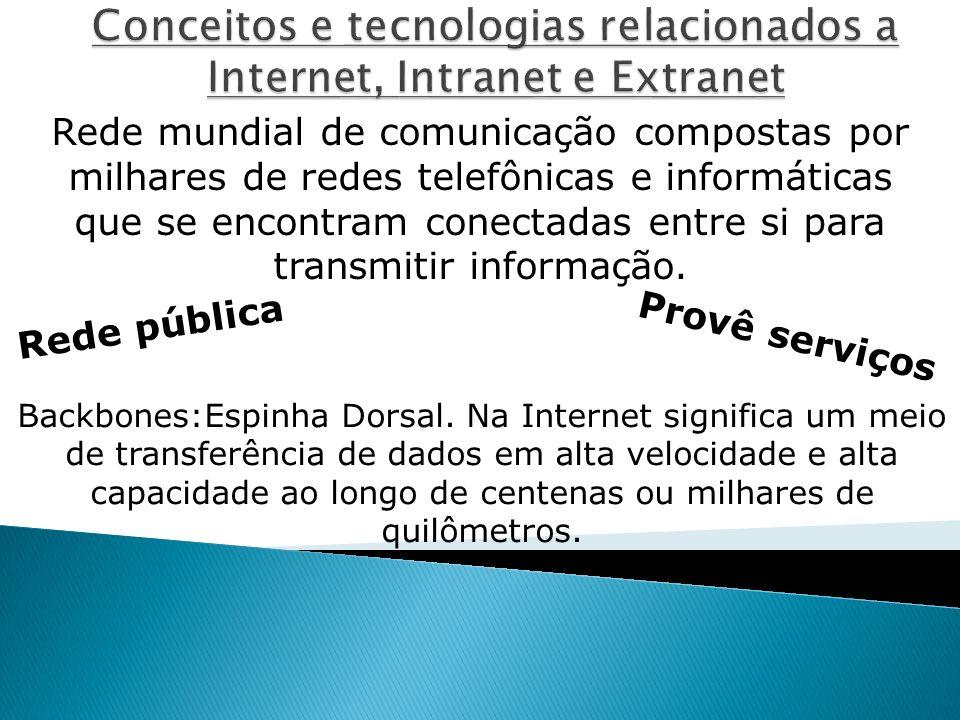 Rede mundial de comunicação compostas por milhares de redes telefônicas e informáticas que se encontram conectadas entre si para transmitir informação