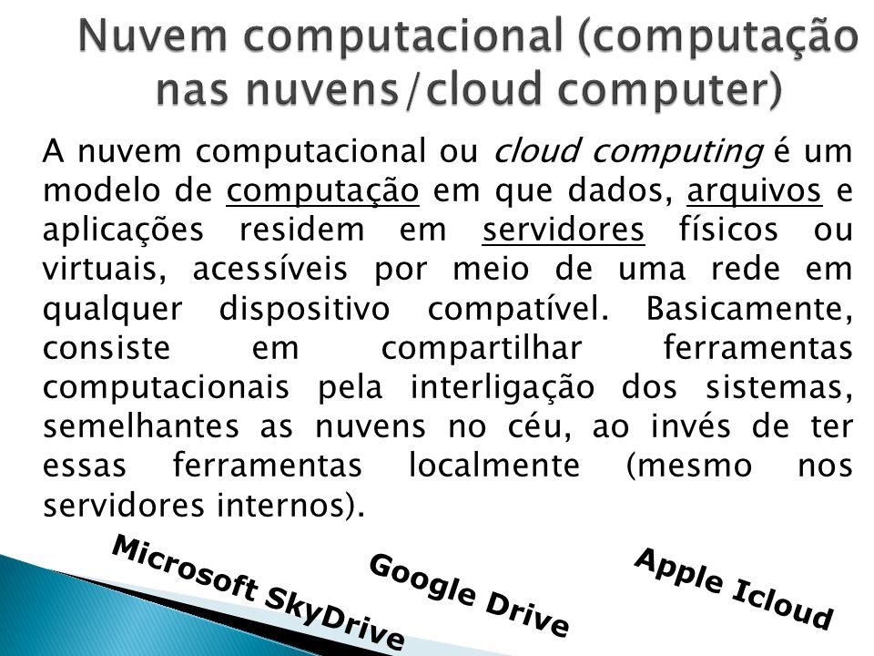 A nuvem computacional ou cloud computing é um modelo de computação em que dados, arquivos e aplicações residem em servidores físicos ou virtuais, aces
