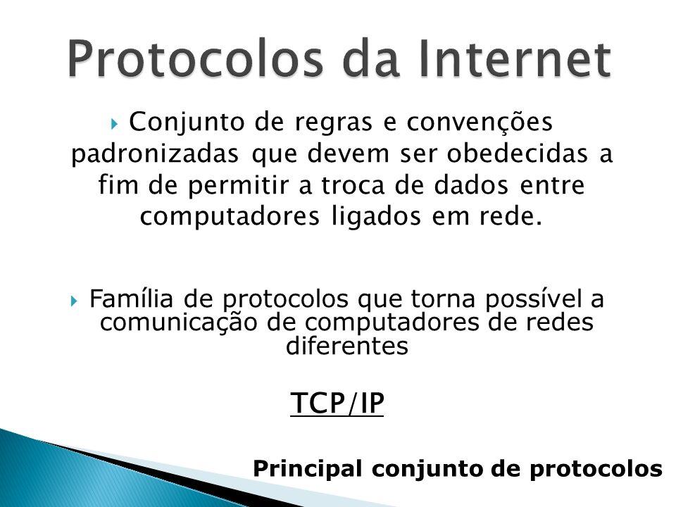 Conjunto de regras e convenções padronizadas que devem ser obedecidas a fim de permitir a troca de dados entre computadores ligados em rede. Família d