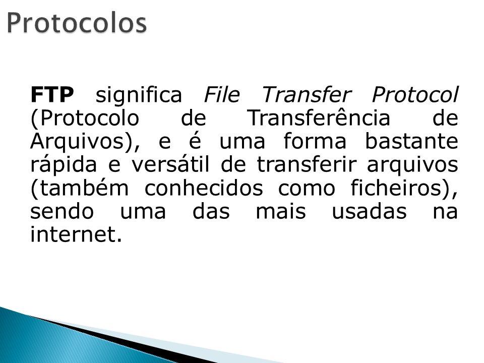 FTP significa File Transfer Protocol (Protocolo de Transferência de Arquivos), e é uma forma bastante rápida e versátil de transferir arquivos (também