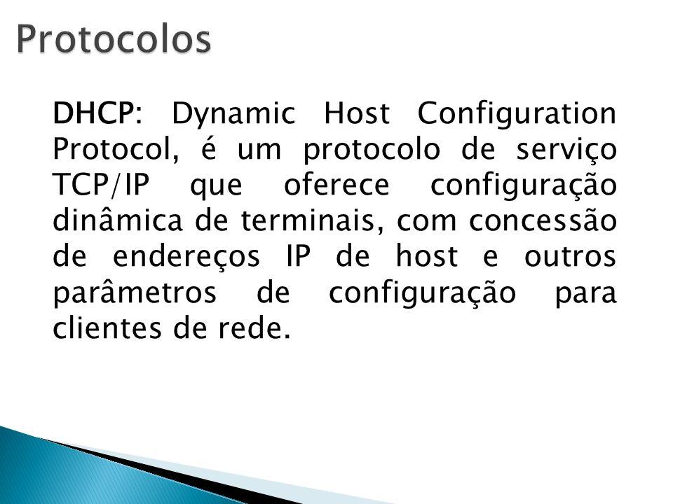 DHCP: Dynamic Host Configuration Protocol, é um protocolo de serviço TCP/IP que oferece configuração dinâmica de terminais, com concessão de endereços