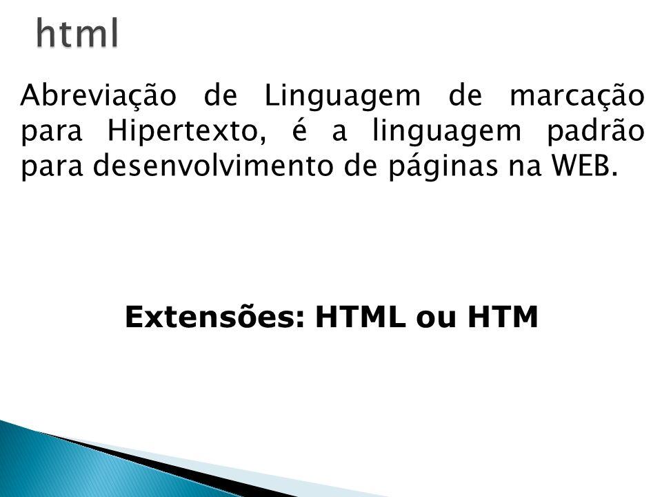 Abreviação de Linguagem de marcação para Hipertexto, é a linguagem padrão para desenvolvimento de páginas na WEB. Extensões: HTML ou HTM