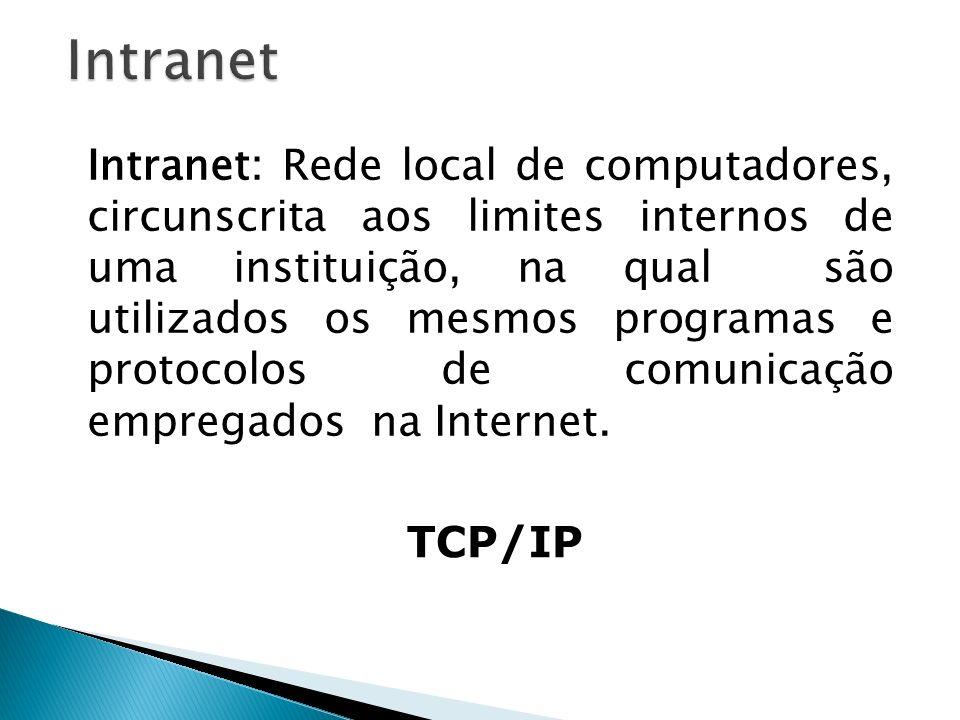 Intranet: Rede local de computadores, circunscrita aos limites internos de uma instituição, na qual são utilizados os mesmos programas e protocolos de