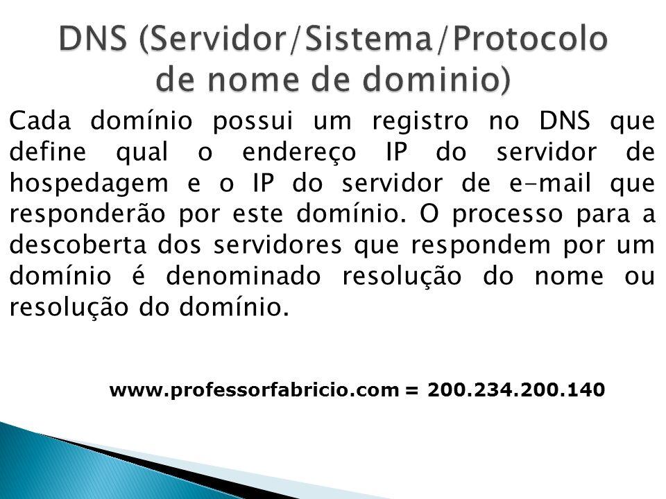 Cada domínio possui um registro no DNS que define qual o endereço IP do servidor de hospedagem e o IP do servidor de e-mail que responderão por este d