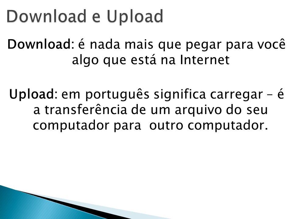 Download: é nada mais que pegar para você algo que está na Internet Upload: em português significa carregar – é a transferência de um arquivo do seu c