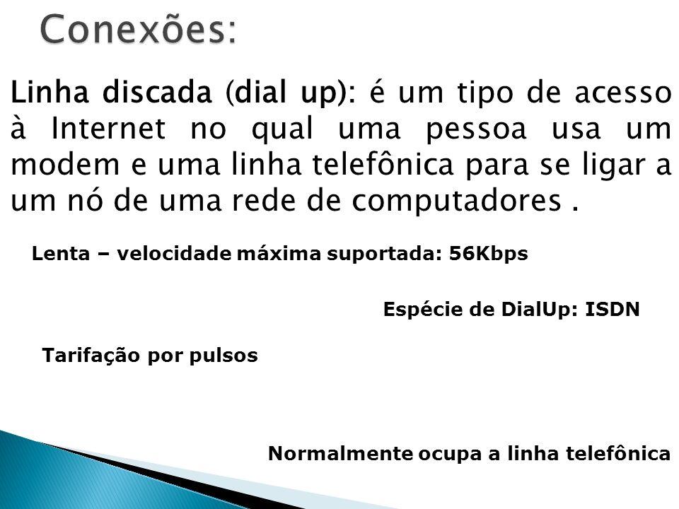 Linha discada (dial up): é um tipo de acesso à Internet no qual uma pessoa usa um modem e uma linha telefônica para se ligar a um nó de uma rede de co
