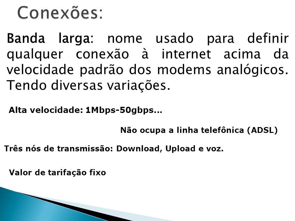 Banda larga: nome usado para definir qualquer conexão à internet acima da velocidade padrão dos modems analógicos. Tendo diversas variações. Alta velo