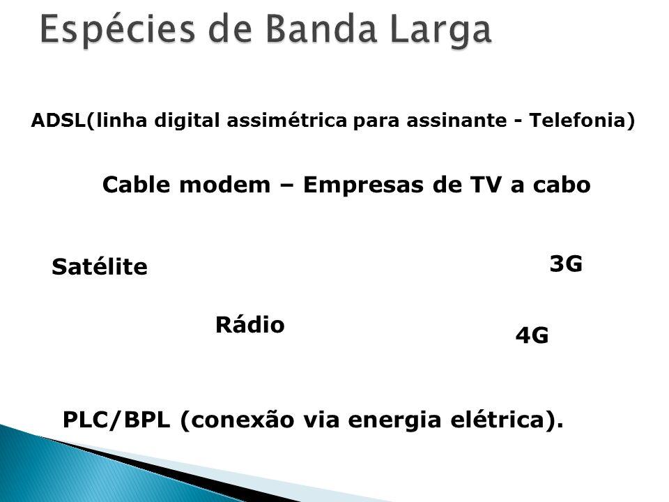ADSL(linha digital assimétrica para assinante - Telefonia) PLC/BPL (conexão via energia elétrica). 3G Rádio Satélite Cable modem – Empresas de TV a ca