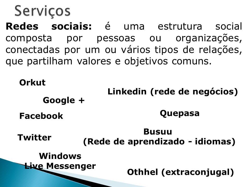 Redes sociais: é uma estrutura social composta por pessoas ou organizações, conectadas por um ou vários tipos de relações, que partilham valores e obj