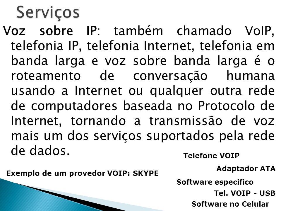 Voz sobre IP: também chamado VoIP, telefonia IP, telefonia Internet, telefonia em banda larga e voz sobre banda larga é o roteamento de conversação hu