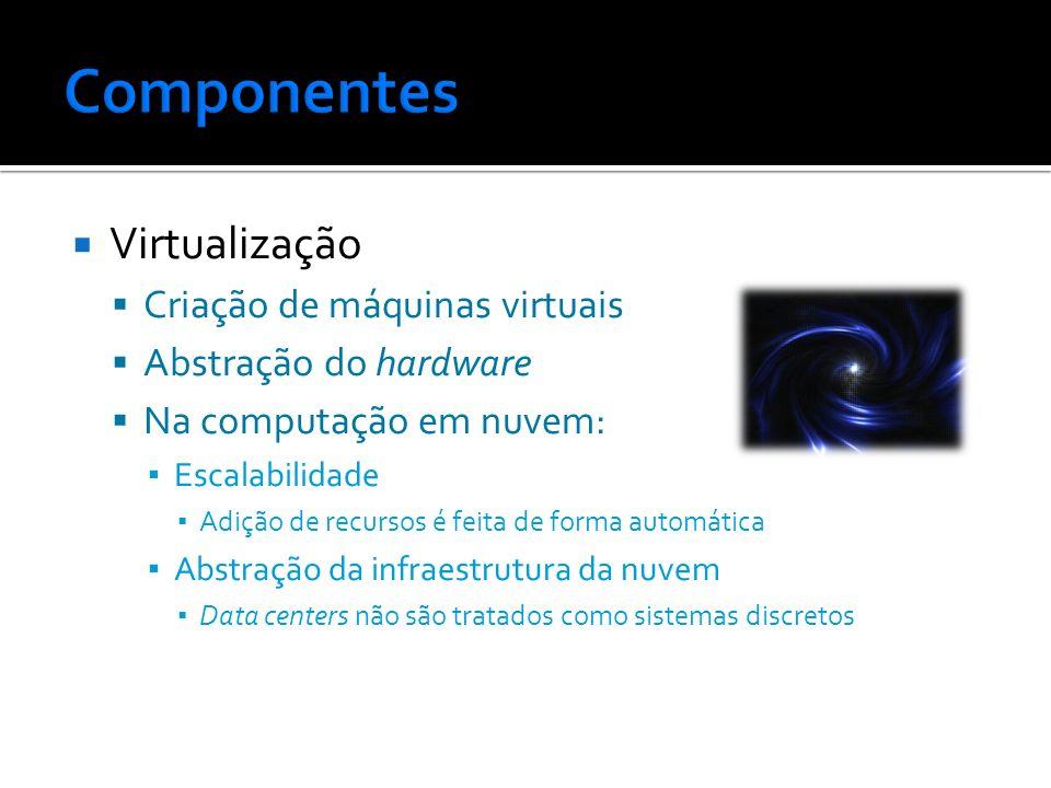 Virtualização Criação de máquinas virtuais Abstração do hardware Na computação em nuvem: Escalabilidade Adição de recursos é feita de forma automática