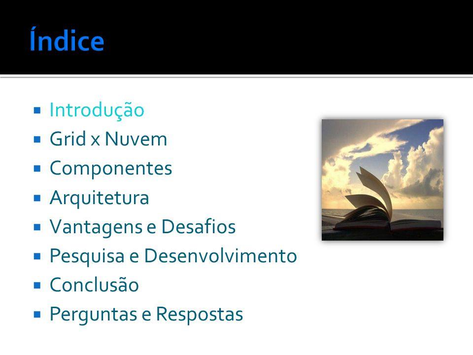 Introdução Grid x Nuvem Componentes Arquitetura Vantagens e Desafios Pesquisa e Desenvolvimento Conclusão Perguntas e Respostas