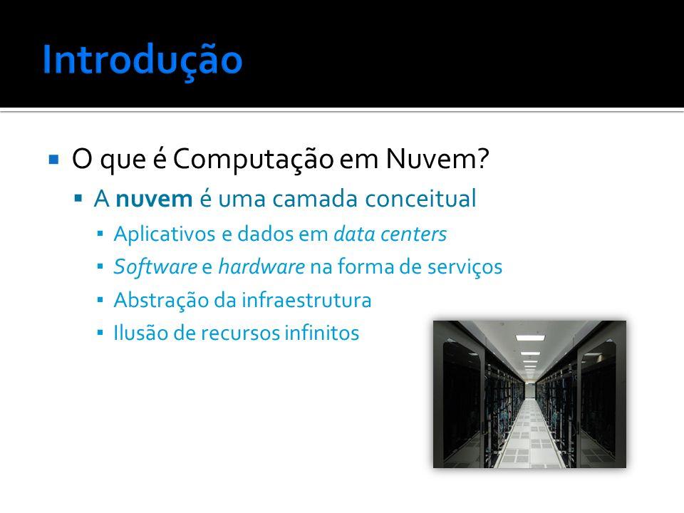 O que é Computação em Nuvem? A nuvem é uma camada conceitual Aplicativos e dados em data centers Software e hardware na forma de serviços Abstração da