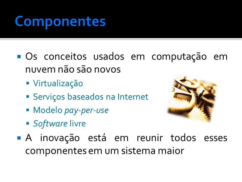 Os conceitos usados em computação em nuvem não são novos Virtualização Serviços baseados na Internet Modelo pay-per-use Software livre A inovação está em reunir todos esses componentes em um sistema maior