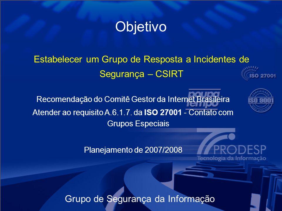Grupo de Segurança da Informação Objetivo Estabelecer um Grupo de Resposta a Incidentes de Segurança – CSIRT Recomendação do Comitê Gestor da Internet Brasileira Atender ao requisito A.6.1.7.