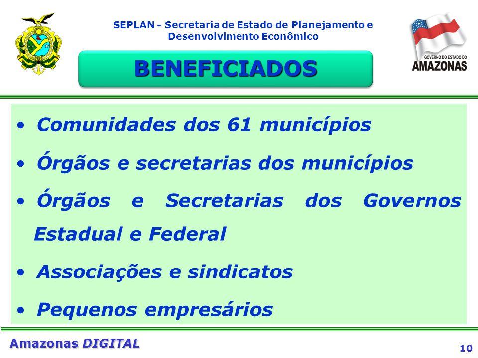 10 Amazonas DIGITAL SEPLAN - Secretaria de Estado de Planejamento e Desenvolvimento Econômico Comunidades dos 61 municípios Órgãos e secretarias dos m