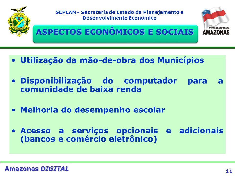 11 Amazonas DIGITAL SEPLAN - Secretaria de Estado de Planejamento e Desenvolvimento Econômico Utilização da mão-de-obra dos Municípios Disponibilizaçã