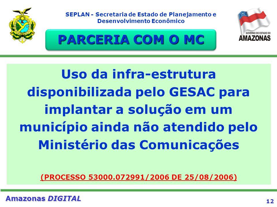 12 Amazonas DIGITAL SEPLAN - Secretaria de Estado de Planejamento e Desenvolvimento Econômico Uso da infra-estrutura disponibilizada pelo GESAC para i