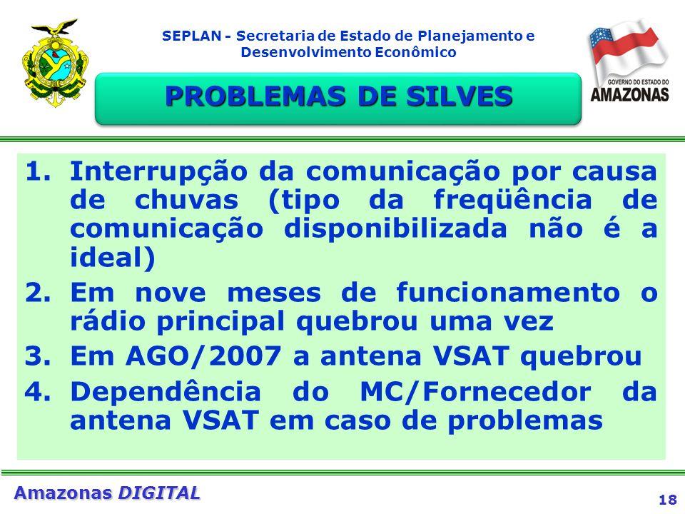18 Amazonas DIGITAL SEPLAN - Secretaria de Estado de Planejamento e Desenvolvimento Econômico PROBLEMAS DE SILVES 1.Interrupção da comunicação por cau