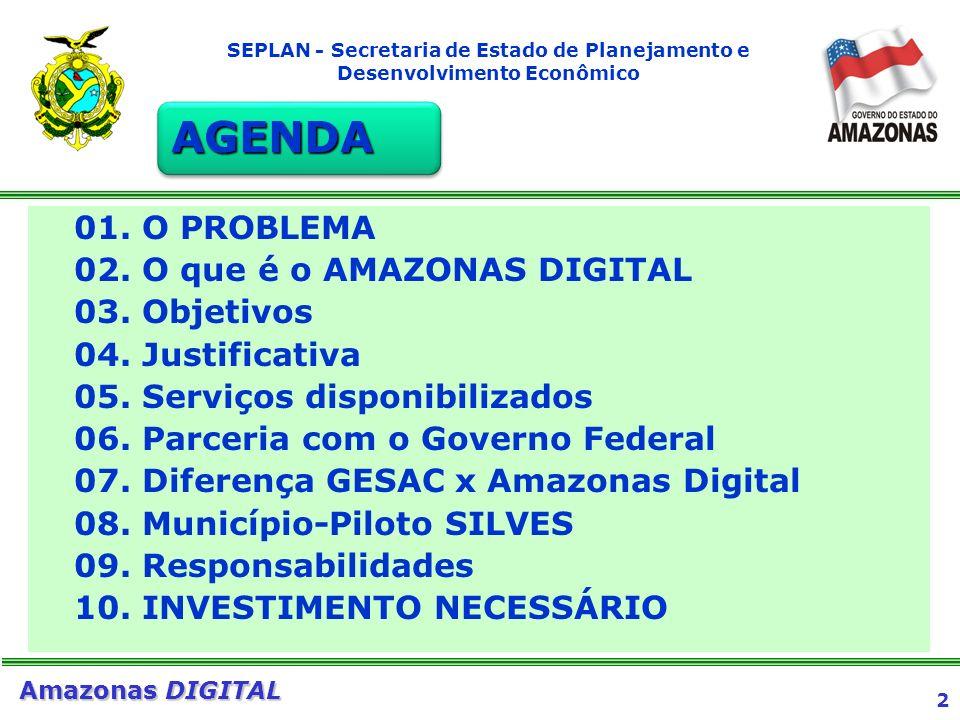 3 Amazonas DIGITAL SEPLAN - Secretaria de Estado de Planejamento e Desenvolvimento Econômico 1.DISTÂNCIA GEOGRÁFICA 2.ALTOS CUSTOS DA TRANSMISSÃO VIA SATÉLITE 3.AUSÊNCIA DE SERVIÇOS PARA O CIDADÃO DO INTERIOR 4.SOLUÇÕES PONTUAIS 5.ENORME EXCLUSÃO DIGITAL O PROBLEMA