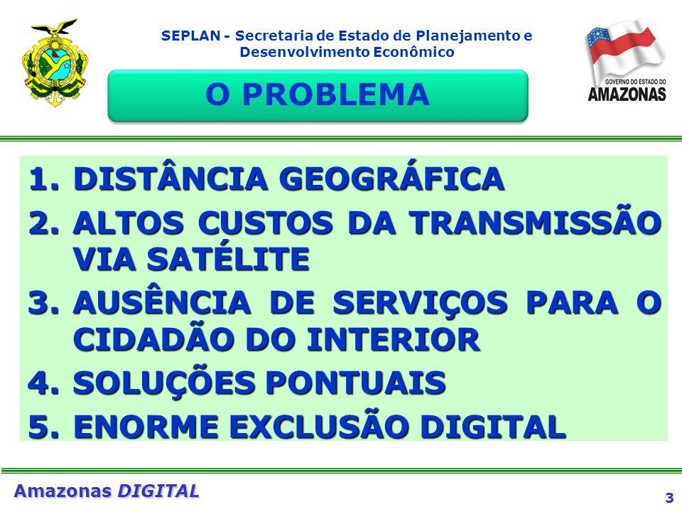3 Amazonas DIGITAL SEPLAN - Secretaria de Estado de Planejamento e Desenvolvimento Econômico 1.DISTÂNCIA GEOGRÁFICA 2.ALTOS CUSTOS DA TRANSMISSÃO VIA