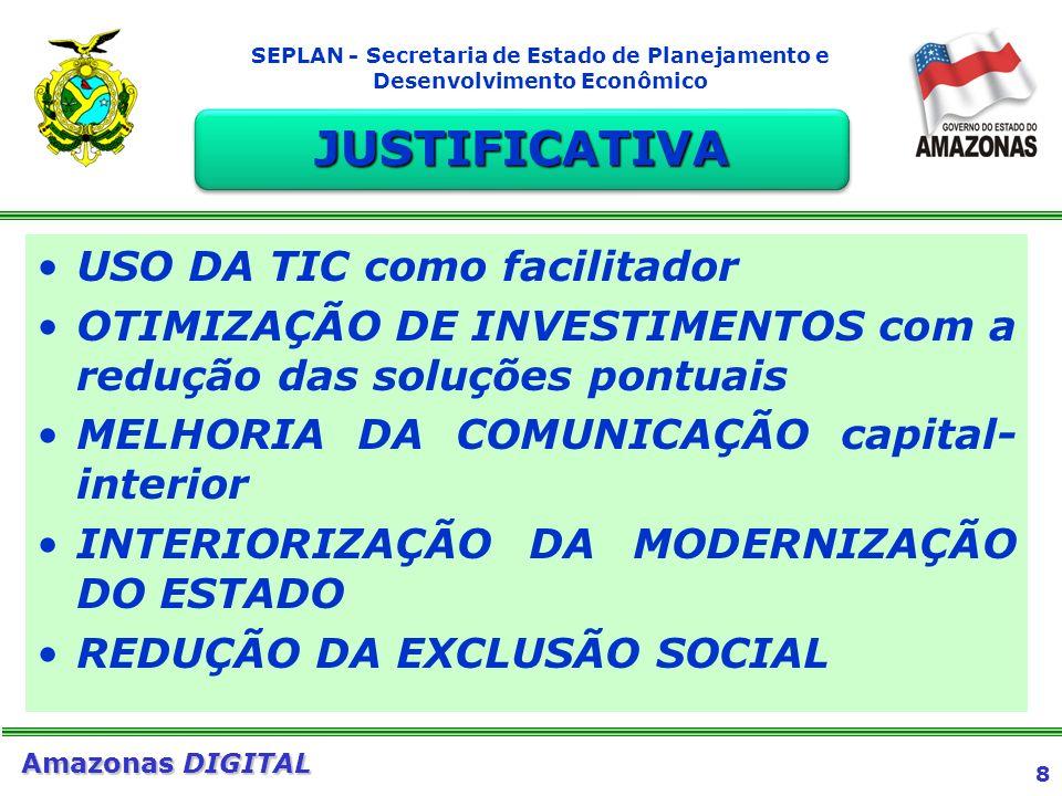 9 Amazonas DIGITAL SEPLAN - Secretaria de Estado de Planejamento e Desenvolvimento Econômico Acesso ONLINE aos serviços: emissão de contra-cheques, carteira de identidade, SEFAZ- DETRAN-SSP-SAÚDE-JUCEA-TJA (só disponibilizados em Manaus) Acesso aos serviços do Governo Federal Acesso PÚBLICO E GRATUITO à INTERNET (pesquisas escolares, comércio eletrônico, etc.) SERVIÇOS DISPONIBILIZADOS