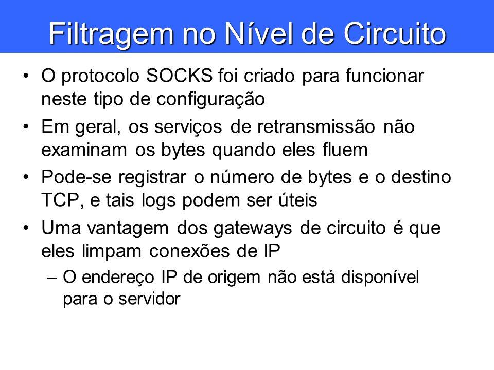 Filtragem no Nível de Circuito O protocolo SOCKS foi criado para funcionar neste tipo de configuração Em geral, os serviços de retransmissão não exami