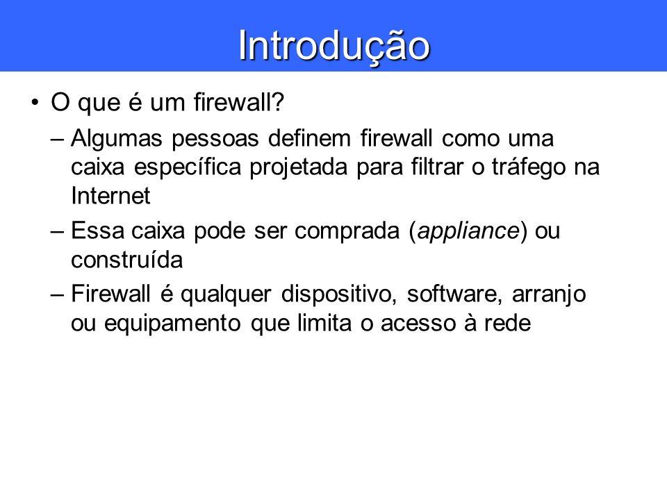 Introdução O que é um firewall? –Algumas pessoas definem firewall como uma caixa específica projetada para filtrar o tráfego na Internet –Essa caixa p