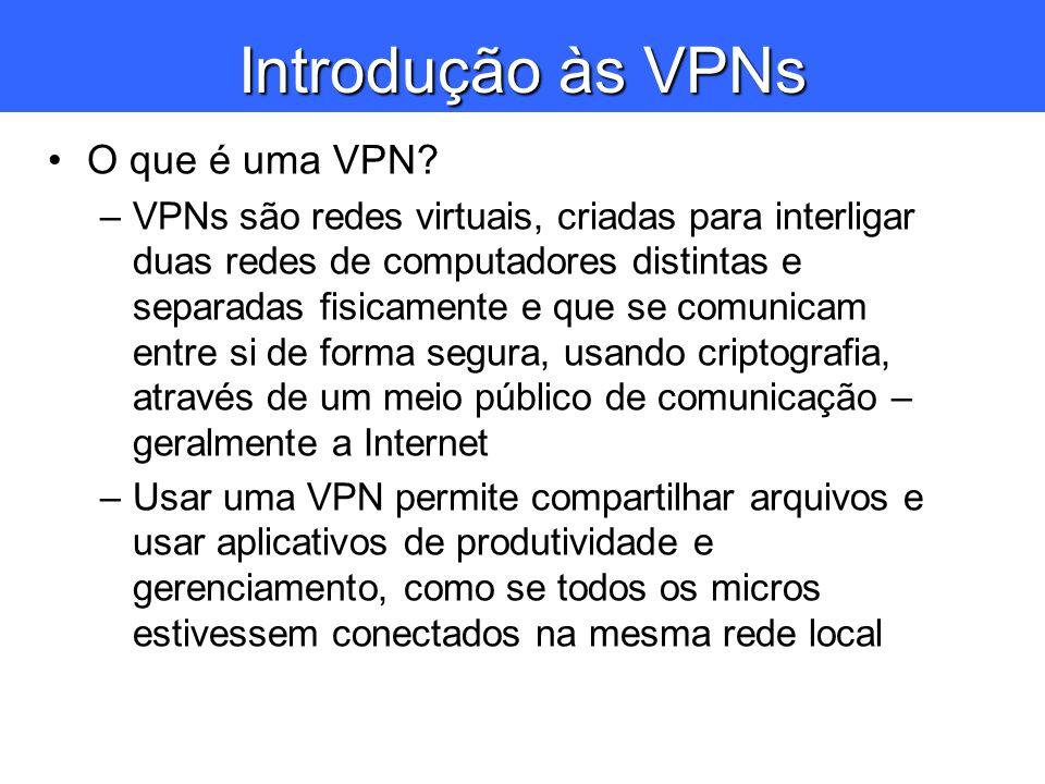 Introdução às VPNs O que é uma VPN? –VPNs são redes virtuais, criadas para interligar duas redes de computadores distintas e separadas fisicamente e q