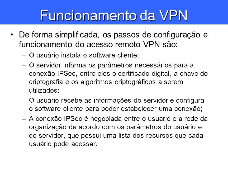 Funcionamento da VPN De forma simplificada, os passos de configuração e funcionamento do acesso remoto VPN são: –O usuário instala o software cliente;