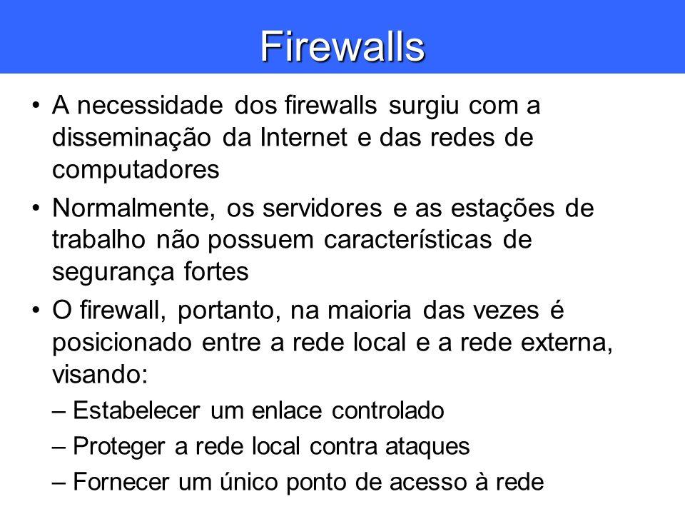 Firewalls A necessidade dos firewalls surgiu com a disseminação da Internet e das redes de computadores Normalmente, os servidores e as estações de tr