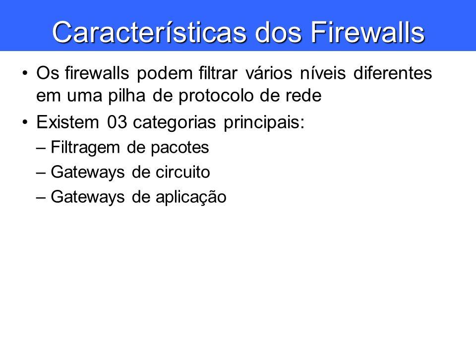 Características dos Firewalls Os firewalls podem filtrar vários níveis diferentes em uma pilha de protocolo de rede Existem 03 categorias principais: