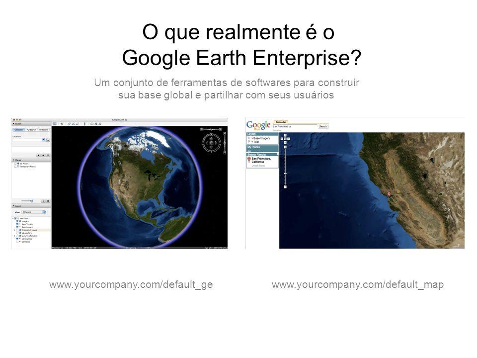 O que realmente é o Google Earth Enterprise? www.yourcompany.com/default_mapwww.yourcompany.com/default_ge Um conjunto de ferramentas de softwares par