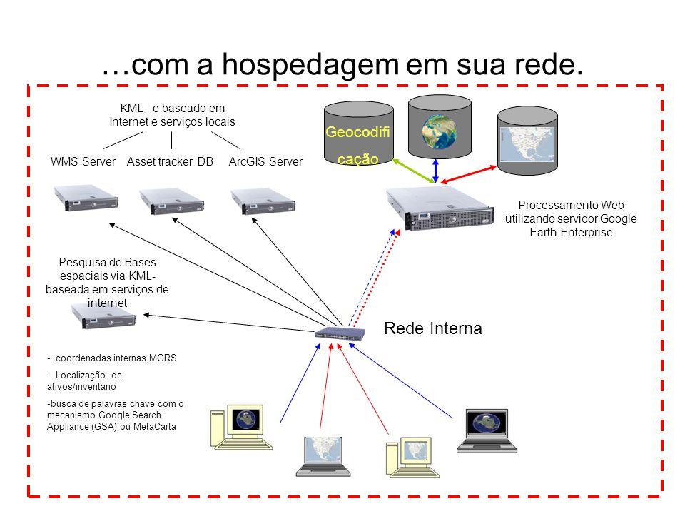 …com a hospedagem em sua rede. KML_ é baseado em Internet e serviços locais Processamento Web utilizando servidor Google Earth Enterprise Geocodifi ca