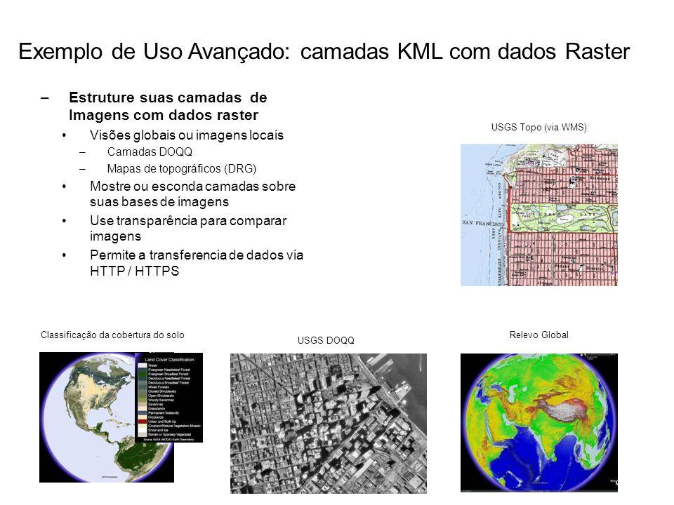 –Estruture suas camadas de Imagens com dados raster Visões globais ou imagens locais –Camadas DOQQ –Mapas de topográficos (DRG) Mostre ou esconda cama