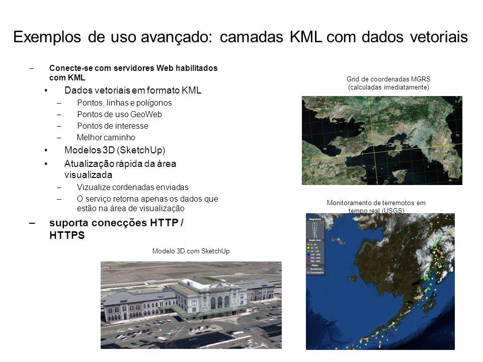 –Conecte-se com servidores Web habilitados com KML Dados vetoriais em formato KML –Pontos, linhas e polígonos –Pontos de uso GeoWeb –Pontos de interes
