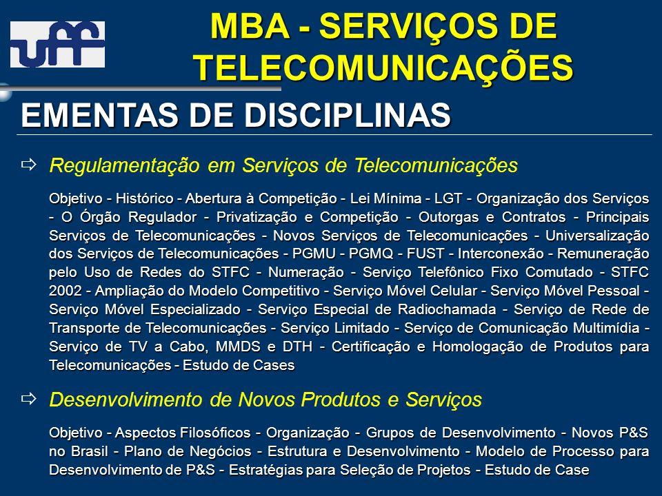 EMENTAS DE DISCIPLINAS Regulamentação em Serviços de Telecomunicações Objetivo - Histórico - Abertura à Competição - Lei Mínima- LGT - Organização dos