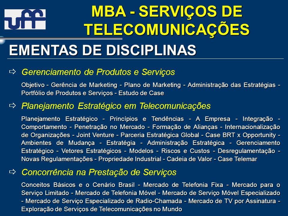 EMENTAS DE DISCIPLINAS Gerenciamento de Produtos e Serviços Objetivo- Gerência de Marketing - Plano de Marketing - Administração das Estratégias - Por