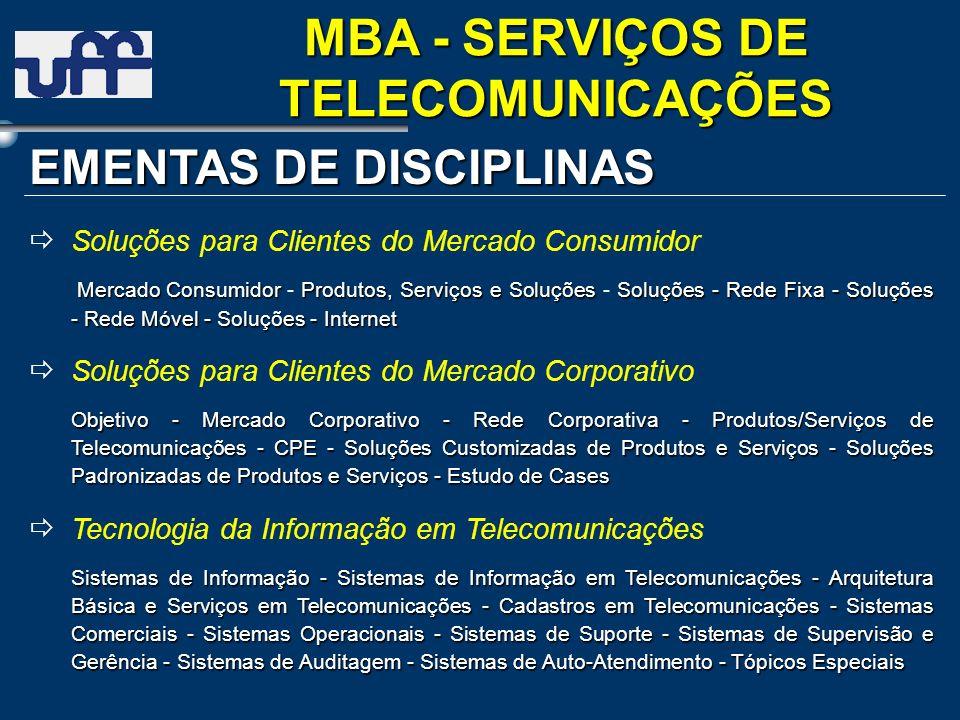 EMENTAS DE DISCIPLINAS Soluções para Clientes do Mercado Consumidor Mercado ConsumidorProdutos, Serviços e SoluçõesSoluções - Rede Fixa - Soluções - R