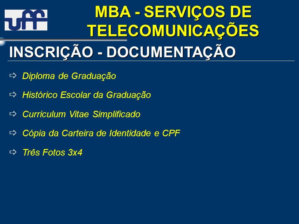 Diploma de Graduação Histórico Escolar da Graduação Curriculum Vitae Simplificado Cópia da Carteira de Identidade e CPF Três Fotos 3x4 INSCRIÇÃO - DOC