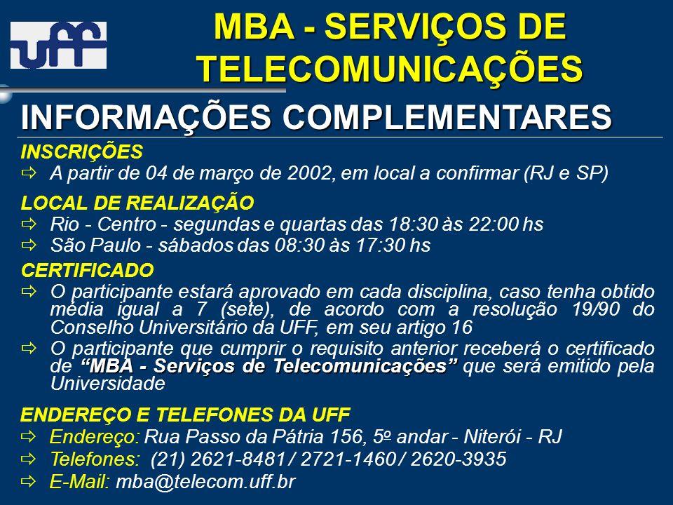 LOCAL DE REALIZAÇÃO Rio - Centro - segundas e quartas das 18:30 às 22:00 hs São Paulo - sábados das 08:30 às 17:30 hs INFORMAÇÕES COMPLEMENTARES CERTI